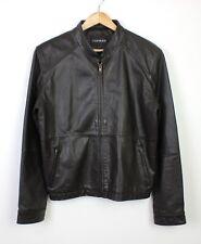 Topman Mens Dark Brown Racer 100% Leather Zip Up Jacket Coat Great - M