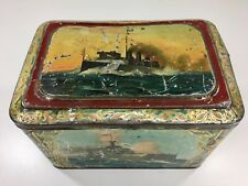"Antique Tin  Box Nautical Themes WWI ca.1918 Submarine Battleships 8 1/4"" X 5.5"""