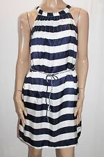 LOLA Australia Designer Navy White Stripe Soho Silk Dress Size XS BNWT #TC107