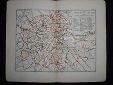 VINTAGE PHILIPS LONDON CITY MAP c1895-parlamentare distretti, contea di Londra