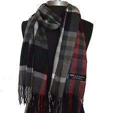 New 100% Cashmere Scarf Gray/Black check Plaid Scotland Wool Soft Unisex (Ctg07)