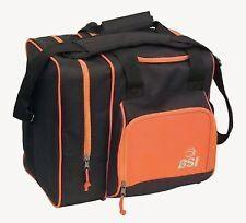 BSI Deluxe Single Bowling Ball Bag BLACK /ORANGE w free towel & Free Ship $27.99