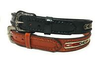 MEN'S WESTERN LEATHER BELT. COWBOY RODEO LEATHER BELT