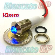 """SPIA LED BLU 12V DC METALLO """"TONDO"""" 10mm auto moto camper segnalatore lampada"""