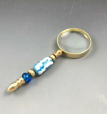 Hand Held Magnifying Glass Gold Tone with Artisan Made Lamp Work Beads