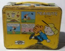 Vintage 1965 Peanuts Charlie Brown Metal Lunch Box W/O Thermos