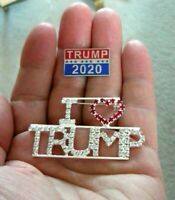 "Large 2.25"" Rhinestone ""I Love Trump"" Pin & Trump Re-Election Raised Letter Pin"
