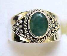 Genuine Emerald, Artisan Ring, 925 Sterling Silver size 10 --- 1.19ct, 5.6g