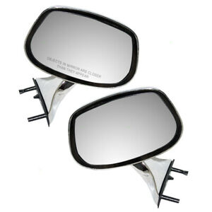 Pair Set Manual Side View Mirrors Chrome for Buick Pontiac Oldsmobile Chevrolet