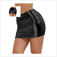 Sexy Women Lingerie Wetlook Leather Short Stretch Bodycon Mini Skirt Clubwear