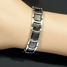 Bio Magnetic Tungsten Arthritis CTS RSI Unisex Silver Rhodium & Black Bracelet