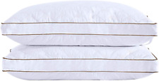 puredown Goose Down Pillows for Sleeping Gusseted Bed Pillows Down Feather Set 2