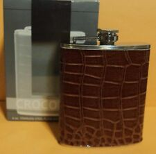 Hip Flask Travel 6 Oz Stainless Brown Crocodile Faux Leather Cover Pocket NEW