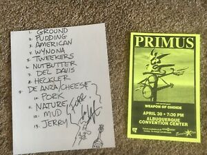 LES CLAYPOOL SIGNED SET LIST AND PRIMUS CONCERT FLYER