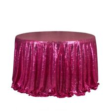 Hot Pink Glitter Sequin Tablecloth Wedding Engagement Reception Party Decoration