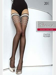 Fancy patterned hold ups- Daiva by Fiore