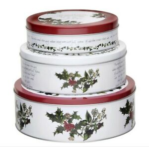 Pimpernel Cake Tins Set Of 3 Nesting Holly Cardinal Holiday Christmas Cookies