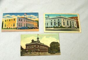3 Vintage Georgia Post Office Postcards Brunswick Gainesville Waycross