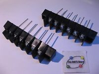 Terminal Block 6 Posn. Black Bakelite Magnum Long Leads - NOS Qty 2