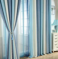Grommet Cotton Linen Shades Blue Cloth Curtains Rod Pocket Striped Sheer Tulle