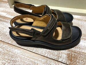 New Women's Clarks Artisan Harvest Bronze Leather Slingback Sandals Sz 11