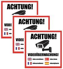 3x ACHTUNG! Videoüberwachung Aufkleber, Hinweis Warnaufkleber Kamera 4 Sprachen
