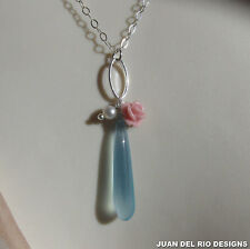 Koralle Blüte Chalcedon Zuchtperle Anhänger-Kette 925 Silber Collier Blume Ring