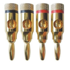 4X Gold Plated Banana Plugs Speaker Audio Connector Wire Cable 4mm N1P