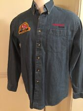 Men's LL Bean Long Sleeve L/S Jean shirt Blue Large Button Cotton Exxon Mobil