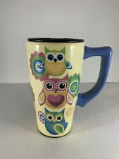 Spoontiques Owls Ceramic Travel Mug with Lid Yellow 14oz Coffee Tea Cup