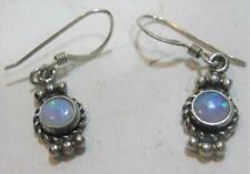 Stamped 5 Star Sterling Silver Opal Granulated Braided Rope Dangle Earrings 2.4g