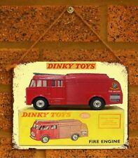 Vintage Tin Sign Dinky Car Fire Engine Metal Sign Man Cave Vintage