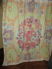 WORLD MARKET FLORAL SKETCHED BOHO ORANGE RED BLUE (1) SHOWER CURTAIN 72 X 72