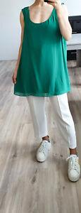 PERSONA MARINA RINALDI Green Chiffon TOP Attachable Sleeves Plus 27 US18 UK22 L