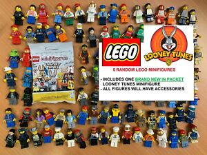 5 random LEGO MINIFIGURES bundle/joblot including 1 NEW LOONEY TUNES figure