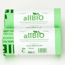 10l 50 Bags allBIO 100 Compostable Food Waste Kitchen Caddy / Bin Liners
