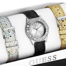 NEW GUESS SS SPARKLE GLITTER LADY WATCH SILVER BLACK GOLD LEATHER STRAPS U0296L1