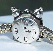 Retro Alarm Clock Time Nostalgia Bead fits Silver European Style Charm Bracelets