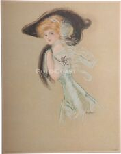 Art Nouveau Woman, Hat/Muff 1909 Victorian Color LItho Print / Chromolithograph