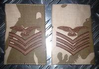 Genuine British Army Desert Camo SERGEANT AIRCREW Rank Slides / Epaulettes - NEW