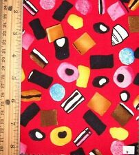 RED WITH A DESIGN OF LIQUORICE SWEETS - 100% COTTON FABRIC FQ'S
