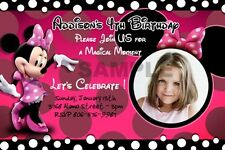 MINNIE MOUSE HOT PHOTO BIRTHDAY PARTY INVITATION CUSTOMIZABLE FIRST 1ST - C5