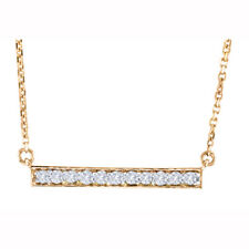 """.25ctw 14k Pink Gold Diamond Bar Necklace with 16"""" Chain Genuine Handmade in USA"""