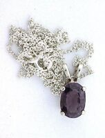 1.95 Carat Oval Natural Purple Spinel Gemstone Sterling Silver Pendant & Chain