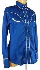 Vintage AVANTE WEST Blue Pearl Snap Button Western Rockabilly Long Sleeve Shirt