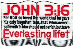 "3 "" x4 3/4 "" Gospel en Un Nutshell Bible Verset John 3:16 Chrétien Broder Patch"