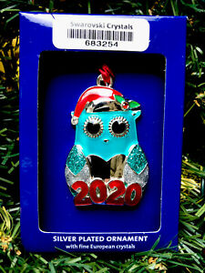2020 Santa Owl Holiday Ornament Harvey Lewis Xmas w Swarovski Elements Crystals