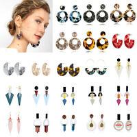 Vintage Charm Boho Statement Acrylic Hollow Geometric Hoop Drop Dangle Earrings