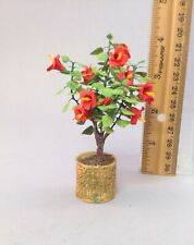 Dollhouse miniature 1/12th scale hibiscus bush in a resin pot