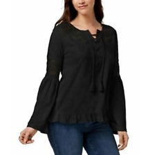 Style Co Mesh-inset Peasant Top Deep Black XL